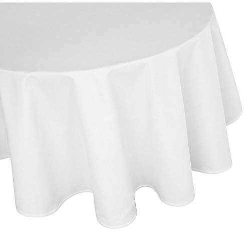 Damast Tischdecke 100% Baumwolle Gastro Edition Rund Weiß 180 cm Größe wählbar