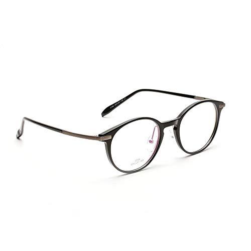 XIAOTANBAIHUO Anteojos Gafas ópticas Retro de Las Mujeres Clear Lens Geek/Gafas Nerd (Color : Bright Black)
