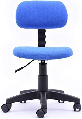 Silla de Oficina Silla de Oficina Armsless Mid Back Cómodo Cojín de la Esponja Silla Ergonómica Silla de computadora con Ruedas giratorias Sillón (Color : Blue)