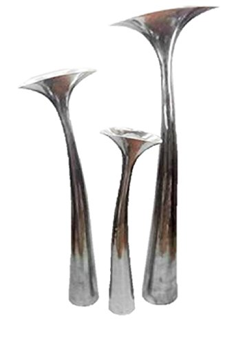 Exklusive Design Bodenvase Vase aus Aluminium 75cm hoch Alu Lilie Blumenvase