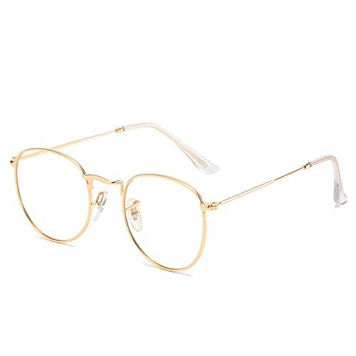 Qingxin Gafas de bloqueo de luz azul ligero retro moda marco de metal transparente lentes para hombres mujeres
