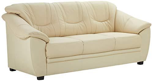 Cavadore 3-Sitzer Savana / 3er Ledersofa mit Federkern im klassischen Design / 198 x 90 x 90 / Echtleder Weiß