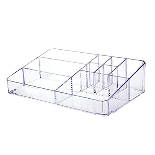 NIDONE Caja de almacenamiento cosmética de acrílico transparente del organizador del maquillaje con 9 compartimentos