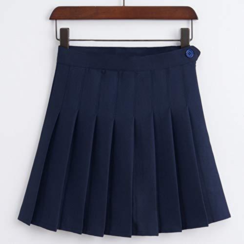 SHYPT Señoras Dulce Cintura Alta Falda Plisada Chicas Harajuku Mini Falda señoras Verano Delgado Falda Corta Falda Escolar Uniforme Falda (Color : A, Size : Large)