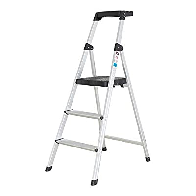 Dporticus Anti-Slip 4 Step Ladder with Handrails Folding Safty Steel Step Stool for House Market Office