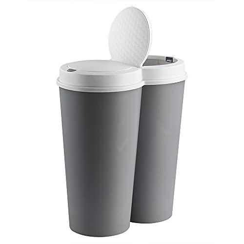 Deuba Cubo de Basura basurero de 50L Separación de residuos para cocina 2x25L reciclaje Marrón 50 x 53cm