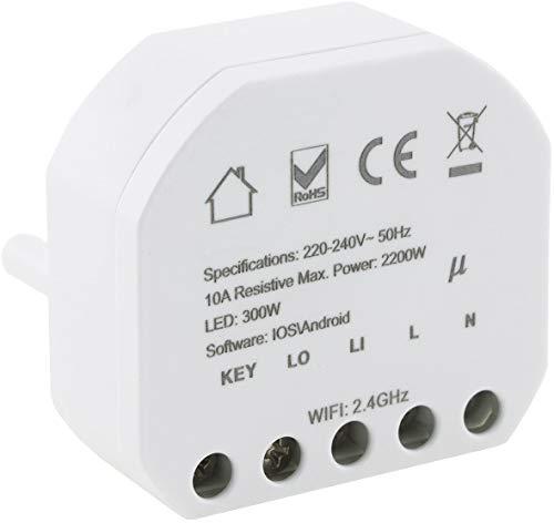 Interruptor empotrable WiFi 230 V 10 A, control por aplicación compatible con Andoid/iOS/Alexa/Google