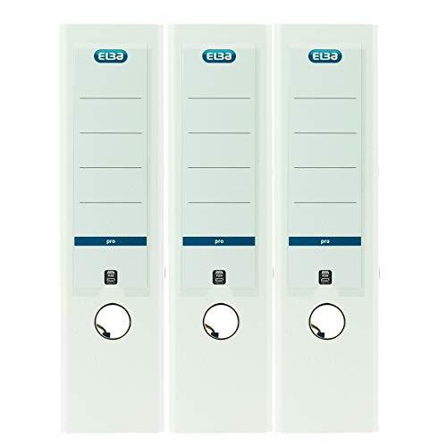 Elba Smart Pro - Archivador (DIN A4, con etiqueta trasera y cubierta de plástico), color azul, color Blanco 3er Pack breit