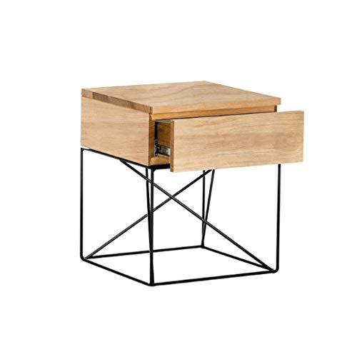 Mesita de noche de madera maciza nórdica, mueble de almacenamiento, mesa auxiliar, creativo, moderno, minimalista, armario de almacenamiento con cajón, mesita de noche, mesita de noche (Color: Wood)