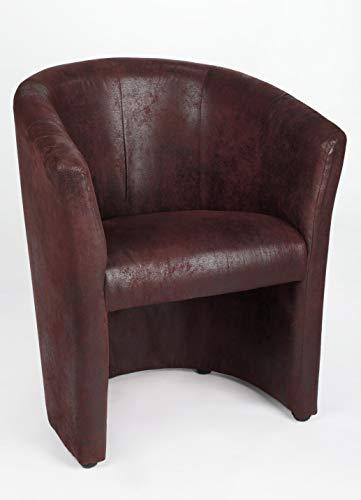 Generisch Design Cocktailsessel Sessel Clubsessel Loungesessel Club Möbel Bürosessel Praxismöbel Antik Braun dunkel Wildleder Optik