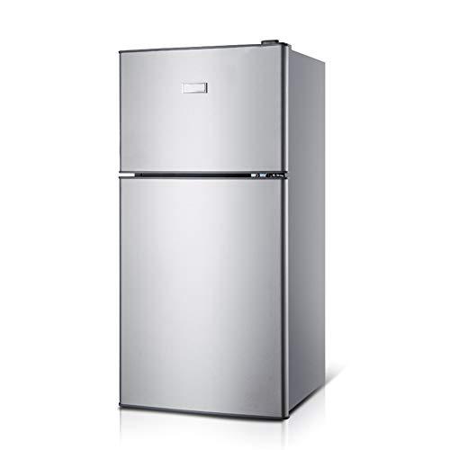 DYWOZDP Mini-Kühlschrank Kühl-Gefrier-Kombination, Doppeltür-Kühlschrank, Kühlschrank: 70 Liter, Gefrierschrank: 36 L, Türdichtung Wechselbar Reinigungsfreundlich, Fassungsvermögen: 90 Liter,A
