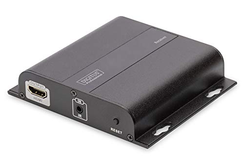 DIGITUS Professional 4K HDMI Extender (Empfängereinheit), IP fähig und Direktverbindung (Cat 5, 5e, 6), bis zu 253 Empfänger, Auflösung 3840x2160p mit 30 Hz, Schwarz