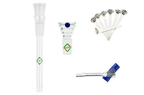 Weedness Bong Glas Chillum Diffuser 18,8 mm Schliff 14 cm 4-teiliges Set - Shillum Zubehör Kopf Adapter Aufsatz Steckchillum Kupplung