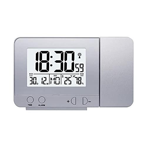 jwj Reloj despertador multifunción digital con pantalla LED, reloj de repetición, hora de repetición, mesa nocturna, proyector de escritorio (color plateado)