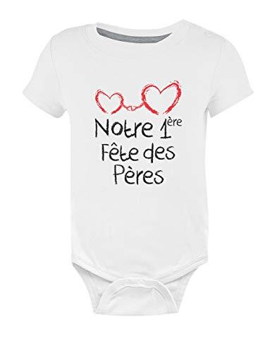 Green Turtle T-Shirts Notre 1ere Fête des Pères Body Bébé Manche Courte 9-12 Mois Blanc