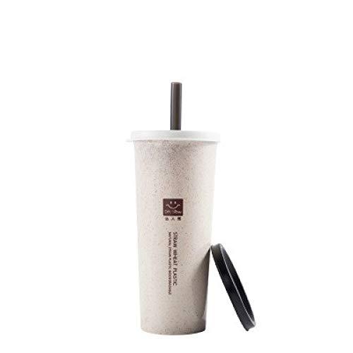 Paja de trigo con taza de paja para estudiantes adultos Copa de beber doble cubierta de plástico desechable taza de una sola capa