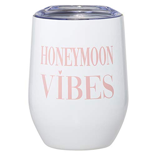 Creative Brands Wedding Collection Stainless Steel Insulated Wine Tumbler, 12-Ounce, Honeymoon Vibes -  G3145