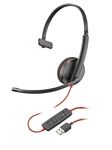 Plantronics - Blackwire 3210 - Wired, Single Ear (Monaural) Headset with Boom Mic - USB-A to connect to your PC and/or Mac