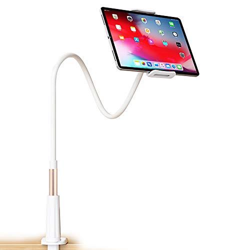 Dwopar Soporte para Tablet de Cuello de Cisne para Tablet de 4'-10,5' iPad Android Tablet & Mobile iPhone, Dispositivos 360 giratorios, Longitud Total DE 37,5 Pulgadas, Dorado