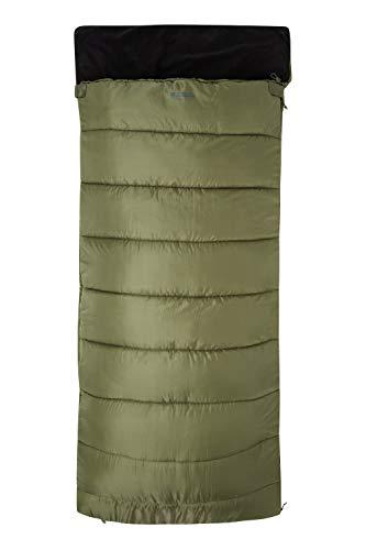 Mountain Warehouse Sutherland Schlafsack - geeignet für 3°C bis -18 °C, Isoliert, Extra Warm, Zweiwegereißverschluss, mit Fleecefutter - Ideal für Winter Camping Khaki Einheitsgröße