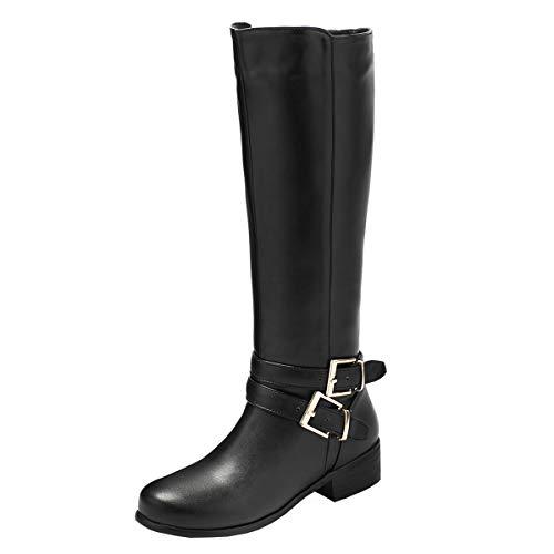 LOVOUO Mode Bottes Cavalieres Plates Femme Genoux Équitation Chunky Riding Knee High Boots Boucles Chaussure Fermeture Eclair Hiver Confortable(Noir,37)