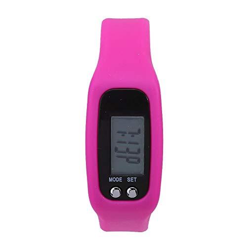 Keenso Pulsera podómetro, Pulsera Inteligente Reloj Pulsera Contador de calorías Podómetro Deportes Fitness Tracker Contador de Pasos(Rosa roja)