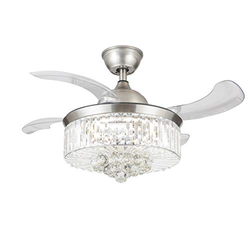 Modern Crystal Chandelier Ceiling Fan with Lights and...
