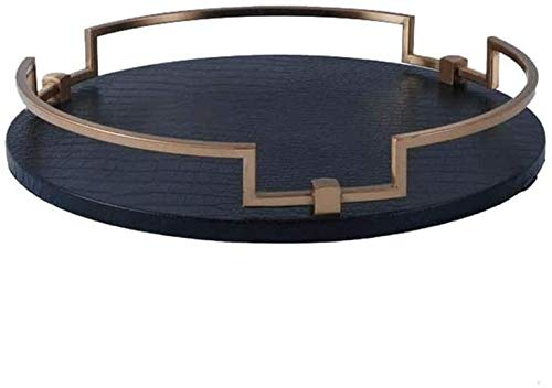 Decorative Tray Round Serving Tray Decorative Platter W/Handles for Bed Breakfast Dinner Coffee Table Parties Home Metal Decorative Tray (Color : Black Size : Large)-Trumpet_Black Excellent