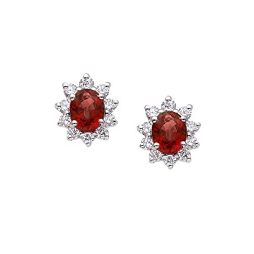 Pendientes de mujer de oro blanco de 18 quilates con rubíes y diamantes - Pendientes Kate Middleton de margarita con rubí oval y 10 diamantes - Idea regalo joyas mujer