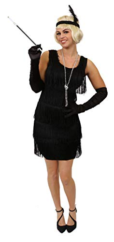 I LOVE FANCY DRESS LTD Vestido Flapper Negro con Parte Delantera Y ...