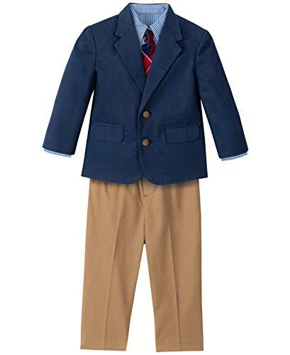 Nautica Boys' 4-Piece Suit Set with Dress Shirt, Tie, Jacket, and Pants, Florida Green Seersucker, 18 Months