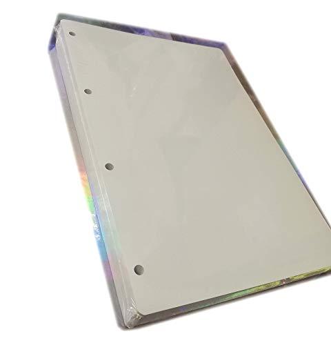 200 Fogli di Ricambio in Formato A4 20,5x29,2cm - 4 fori - Carta Fsc spessa da 120gr. Ricambio per Raccoglitore Grande