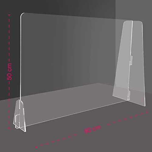 Generico Barriera Protettiva separatore da scrivania in plexiglass Trasparente 4 mm PDS - Divisorio per Ufficio parasputi parafiato (80x50 cm)