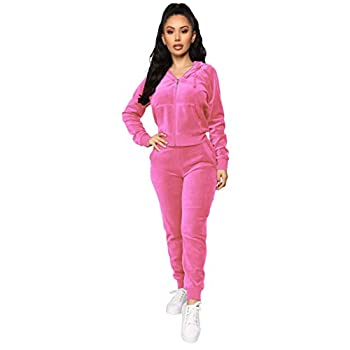 Women s 2 Piece Velvet Tracksuit Set Long Sleeve Zip Up Hoodie & Jogger Pants Sets Warm Velour Sweatsuit Outfit Pink S