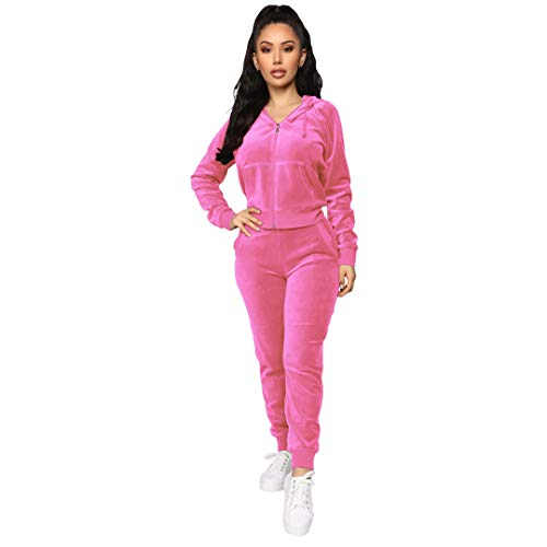 Women's 2 Piece Velvet Tracksuit Set Long Sleeve Zip Up Hoodie & Jogger Pants Sets Warm Velour Sweatsuit Outfit Pink XXL