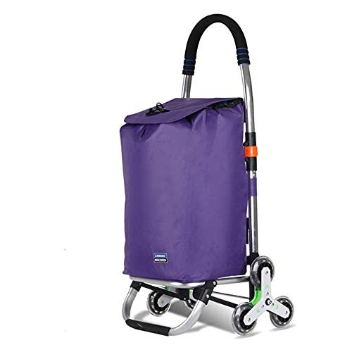BESTSOON Carrito de compras impermeable plegable carrito de la compra escalera ruedas de escalada de comestibles de lavandería utilidad Trolley durable estable bolsa