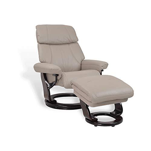 MND My New Design Minorque - Sillón de relax manual, reposacabezas ajustable, patas wengué, giratorio 360°, muy elegante y de muy buena calidad, reposabrazos ajustables, color beige, piel)