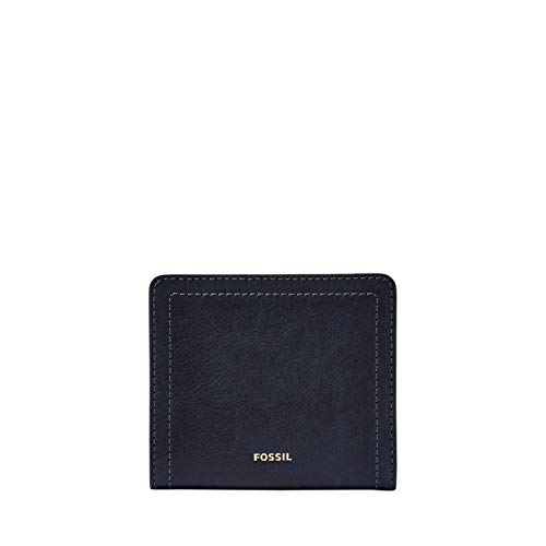 Fossil Women's Logan Faux Leather RFID Bifold Wallet, Midnight Navy