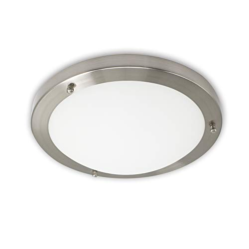 IMVSINCERE LED Deckenlampe 18W, Gebürstetes Chrom Rund 4000K Neutralweiß Deckenlampen,IP44 Wasserfest Deckenleuchte,Ø31cm Glas Bad Deckenleuchte,1280 LumenNatürliches WeißLampen Für Badezimmer