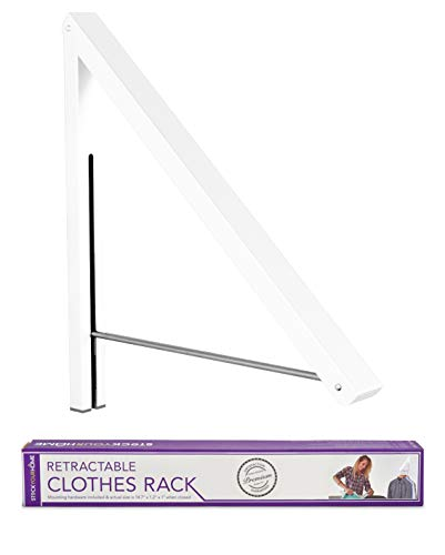 Stock Your Home Folding Clothes Hanger Wall Mounted Retractable Clothes Rack Aluminum Easy Installation - White 1 Pack