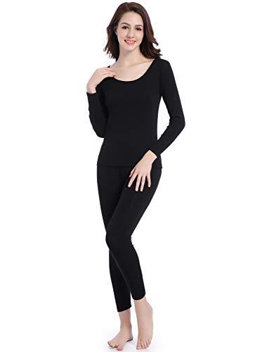 Women Thin Base Layer Long Underwear - Lightweight Johns Thermal Set Scoop Neck Black