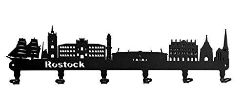 steelprint.de Schlüsselbrett/Hakenleiste * Skyline Rostock * - Schlüsselboard Mecklenburg-Vorpommern, Schlüsselleiste, Metall - 6 Haken