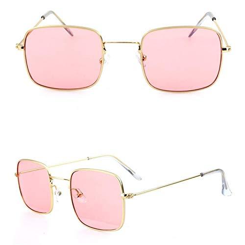 YIERJIU Gafas de Sol Gafas de Sol de Metal para Hombres, Mujeres, Gafas de Sol cuadradas Retro, Gafas de Sol de Color Rosa Claro Amarillo océano Claro Gafas de Montura pequeña,Rosa