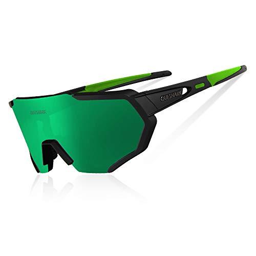 Queshark Radbrille Polarisierte Sportbrille Fahrradbrille mit UV-Schutz 3 Wechselgläser für Herren Damen, für Outdooraktivitäten wie Radfahren Laufen Klettern Autofahren Angeln Golf (Schwarz Grün)