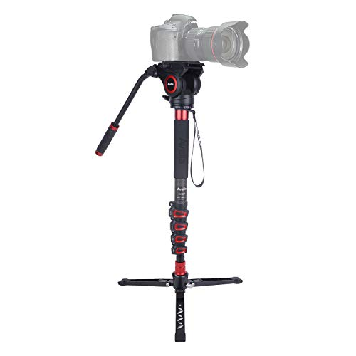 Avella CD325 Carbon Fiber Video Monopod Kit, with Fluid Head and Removable feet, 66 Inch Max Load 13.2 LB for DSLR and Video Cameras