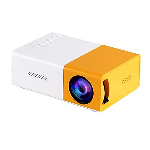 Wilitto LetomNet MP20 Mini proyector multifuncional de pantalla grande ABS portátil 320 x 240 resolución media proyector para el hogar amarillo + enchufe británico blanco