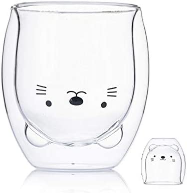 Cute Mugs Glass Double Wall Insulated Glass Espresso Cup, Coffee Cup, Tea Cup, Milk Cup, Best gift for Office and Personal Birthday (Bear)