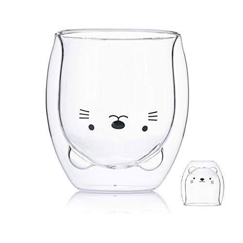 BigNoseDeer Kaffeebecher Doppelwand isoliert Gläser Cup Nettes Tier Tee Milch Tassen Originelles Geschenk für Weihnachten das Erntedankfest Freunde (Katze)