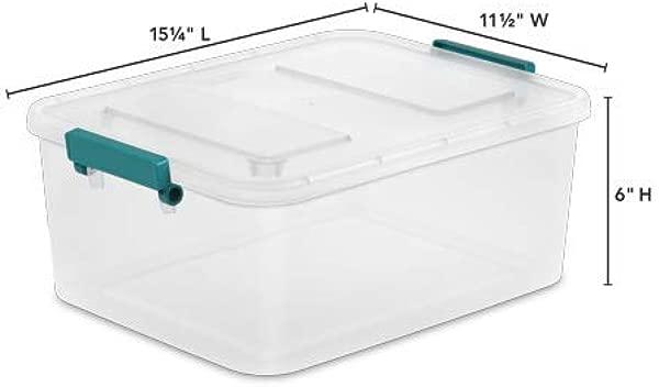 Lonestar Trading Co Case Of 6 Sterilite Teal Sachet 12 7 Qt Modular Latch Box