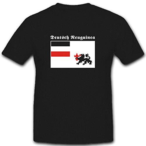Deutsch Neuguinea Kaiser Bismarck Wappen Fahne Flagge Kolonien WK Insel - T Shirt #2553, Farbe:Schwarz, Größe:XXL